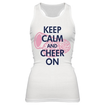 Keep Calm & Cheer On Junior Fit Bella Sheer Longer Length Rib Racerback Tank Top
