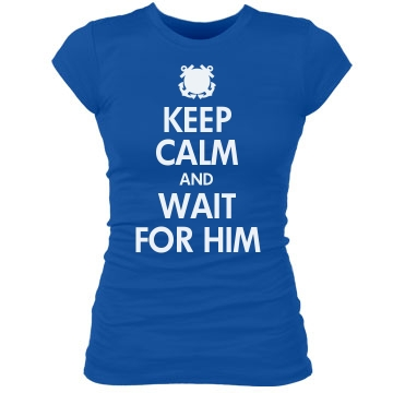 Keep Calm & Coast Guard Junior Fit Bella Sheer Longer Length Rib Tee