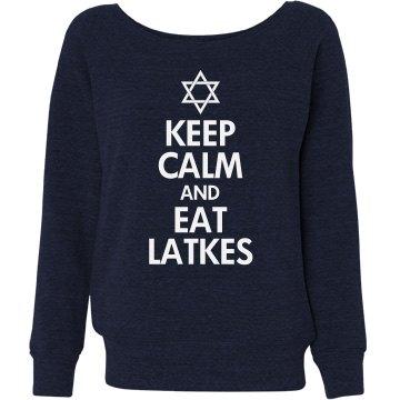 Keep Calm & Eat Latkes Misses Relaxed Fit Bella Triblend Slouchy Wideneck Sweatshirt
