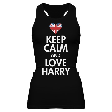 Keep Calm & Love Harry Junior Fit Bella Sheer Longer Length Rib Racerback Tank Top