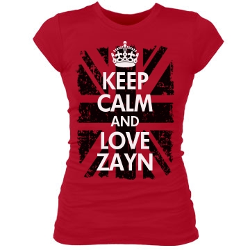 Keep Calm & Love Zayn Junior Fit Bella Sheer Longer Length Rib Tee