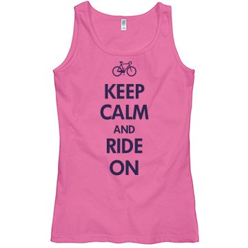 Keep Calm & Ride On Misses Relaxed Fit Basic Gildan Softstyle Tank Top