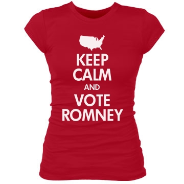 Keep Calm & Vote Romney Junior Fit Bella Sheer Longer Length Rib Tee