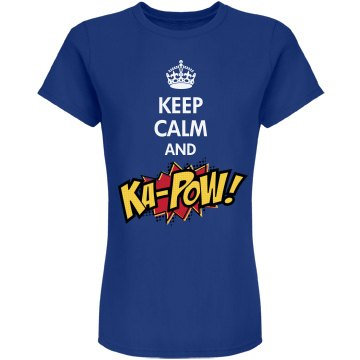 Keep Calm and KA-POW! Junior Fit American Apparel Fine Jersey Tee