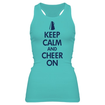 Keep Calm Cheer On Junior Fit Bella Sheer Longer Length Rib Racerback Tank Top