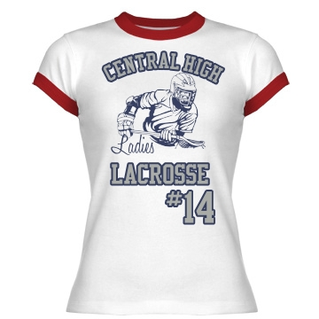 Ladies Lacrosse Tee Junior Fit Bella 1x1 Rib Ringer Tee