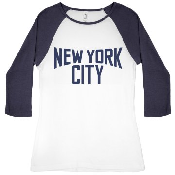 Lady Lennon New York Junior Fit Bella 1x1 Rib 3/4 Sleeve Raglan Tee