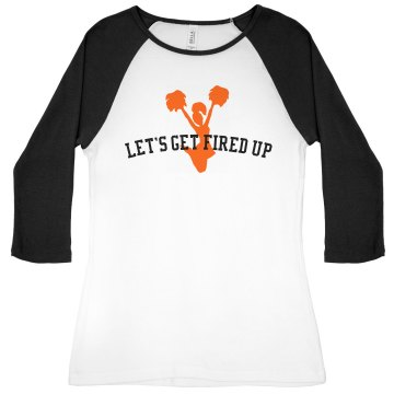 Let's Get Fired Up Junior Fit Bella 1x1 Rib 3/4 Sleeve Raglan Tee