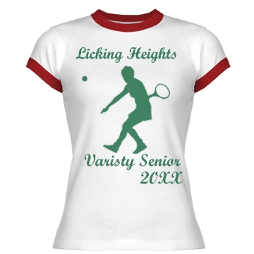 Licking Heights Tennis Junior Fit Bella 1x1 Rib Ringer Tee