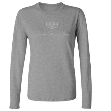 Light Hope Joy Junior Fit Bella Long Sleeve Crewneck Jersey Tee