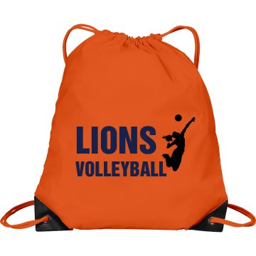 Lions Volleyball Bag Port & Company Drawstring Cinch Ba