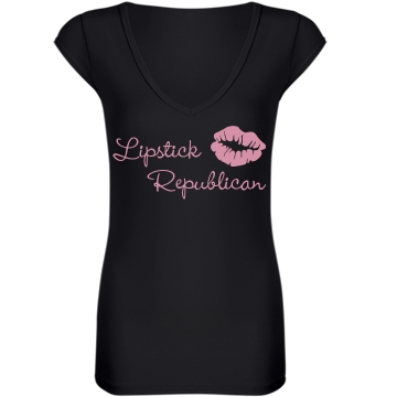 Lipstick Republican  Junior Fit Bella Sheer Longer Length Rib V-Neck Tee