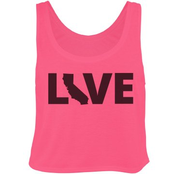 LIVE California Bella Flowy Boxy Lightweight Crop Top Tank Top