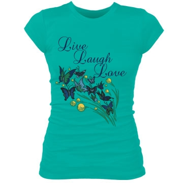 Live Laugh Love Junior Fit Bella Sheer Longer Length Rib Tee
