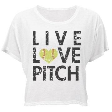 Live, Love, Pitch Bella Flowy Boxy Lightweight Crop Top Tee