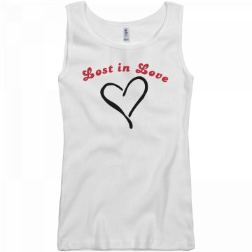 Lost in Love w/ Back Junior Fit Basic Bella 2x1 Rib Tank Top