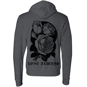 Love Always Rose Hoodie Unisex Canvas Fleece Full-Zip Hoodie