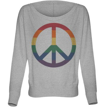 Love and Peace Tee Bella Flowy Lightweight Long Sleeve Dolman Tee