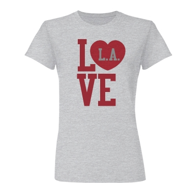 Love LA Heart Tee Junior Fit Basic Bella Favorite Tee