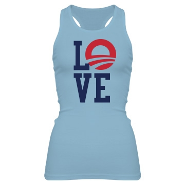 Love Obama Tank Junior Fit Bella Sheer Longer Length Rib Racerback Tank Top
