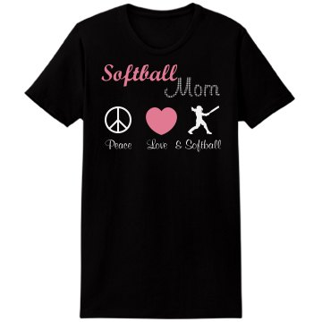 Love Softball Rhinestone  Misses Relaxed Port &