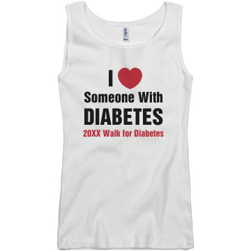 Love Someone W/  Diabetes Junior Fit Basic Bella 2x1 Rib Tank Top