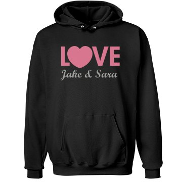 Love With Custom Names Unisex Hanes Ultimate Cotton Heavyweight Hoodie