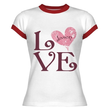 Love with Name Junior Fit Bella 1x1 Rib Ringer Tee