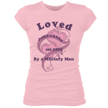 Loved By A Military Man Junior Fit Bella Sheer Longer Length Rib Tee