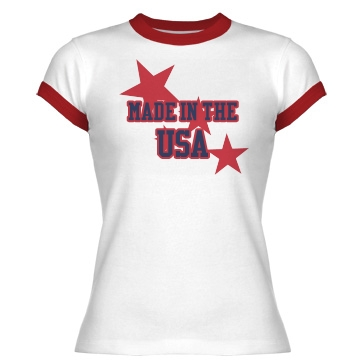 Made in the USA Junior Fit Bella 1x1 Rib Ringer Tee