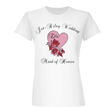 Maid Of Honor Floral Tee Junior Fit Basic Bella Favorite Tee