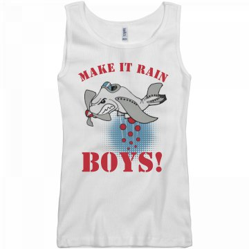 Make It Rain Dodgeball  Junior Fit Basic Bella 2x1 Rib Tank Top