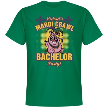 Mardi Gras Bachelor Party Unisex Anvil Lightweight Fashion Tee