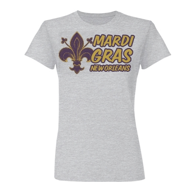 Mardi Gras Fleur De Lis Junior Fit Basic Bella Favorite Tee