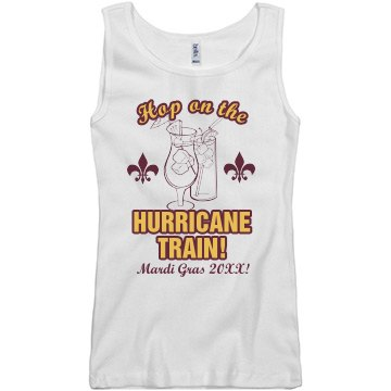 Mardi Gras Hurricane Junior Fit Basic Bella 2x1 Rib Tank Top