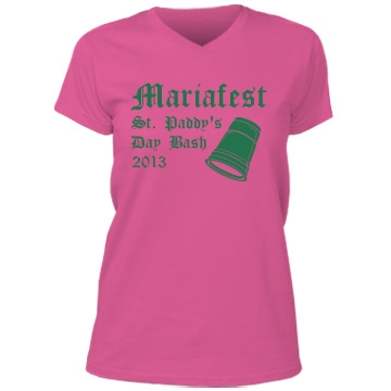 Mariafest! St. Patrick's Misses Relaxed Fit Anvil V-Neck Tee