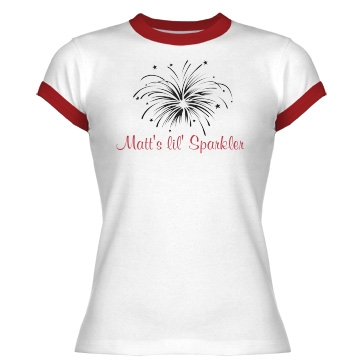 Matt's Lil' Sparkler Junior Fit Bella 1x1 Rib Ringer Tee