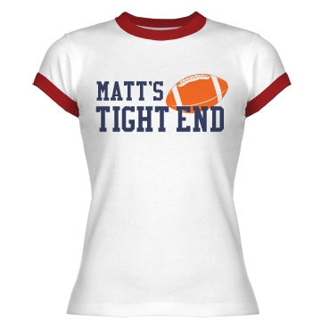 Matt's Tight End Junior Fit Bella 1x1 Rib Ringer Tee