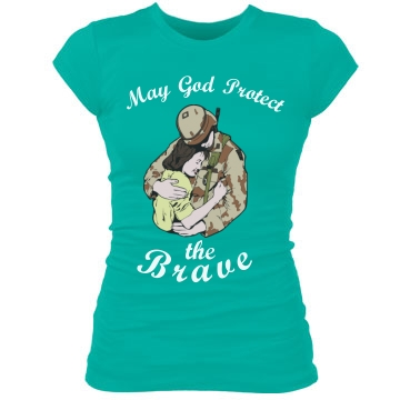 May God Protect the Brave Junior Fit Bella Sheer Longer Length Rib Tee