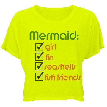 Mermaid Defined Bella Flowy Boxy Lightweight Crop Top Tee