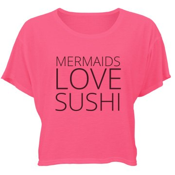 Mermaids Love Sushi Bella Flowy Boxy Lightweight Crop Top Tee