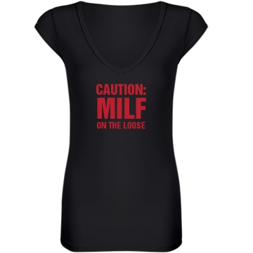 MILF on the Loose Junior Fit Bella Sheer Longer Length Rib V-Neck Tee