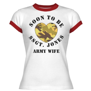 Military Army Wife Heart Junior Fit Bella 1x1 Rib Ringer Tee