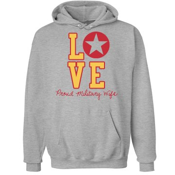 Military Love Hoodie Unisex Hanes Ultimate Cotton Heavyweight Hoodie