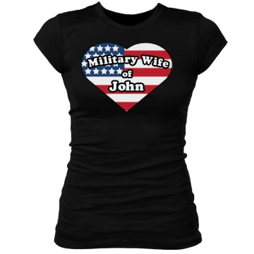 Military Wife Heart Junior Fit Bella Sheer Longer Length Rib Tee