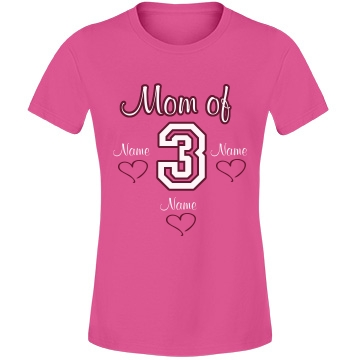 Mom Of Three Tee Misses Relaxed Fit Anvil Lightweight Fashion Tee