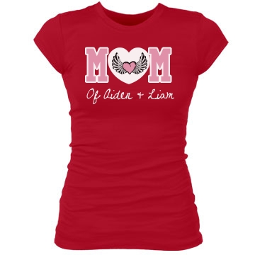 Mom Tee With Heart Junior Fit Bella Sheer Longer Length Rib Tee