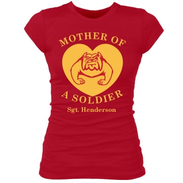 Mother of a Soldier Junior Fit Bella Sheer Longer Length Rib Tee