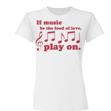 Music Is Love Play On Junior Fit Basic Tultex Fine Jersey Tee