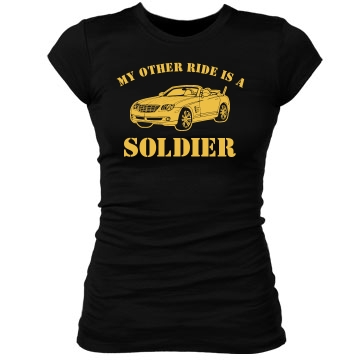 My Other Ride Soldier Junior Fit Bella Sheer Longer Length Rib Tee